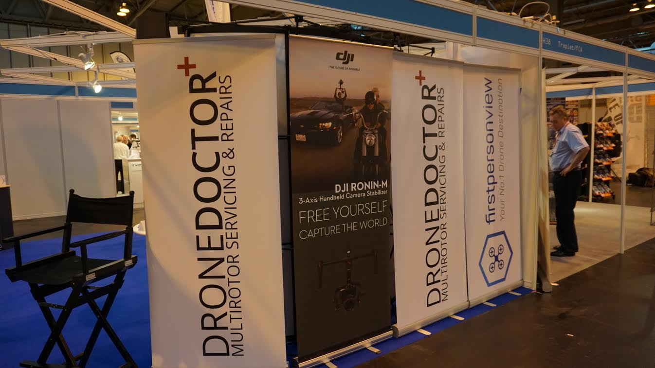 Drone Doctor pull up banner on the DJI stand at the UK Drone Show 2015 NEC Birmingham