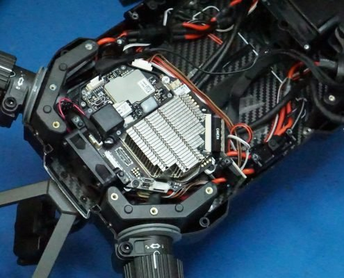 DJI Matrice M210 drone open for inspection and repair